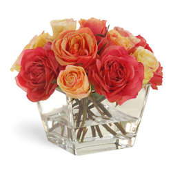 Winward Designs - Rose In Vase Orange/Yellow Flower Arrangement - A rose symbolizes grace and beauty. This exquisite arrangement of Caribbean coral and sunny yellow roses brings vibrant color, lively energy and effortless elegance to your home. These roses are all handmade. Don't they look like the real thing?