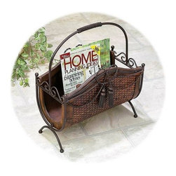 "BZBZ84706 - Wood Metal Elephant Magazine Rack 19""H, 15""L - Rack is 19 inch height x 15 inch wide. Elegant rack is fine addition to any home."