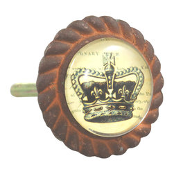 Charleston Knob Company - SET OF 2 Antique Iron & Glass Knobs - King's Crown - Our original  illustrations