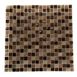 "Southern Trail Blend Marble & Glass Tile Squares - SOUTHERN TRAIL BLEND 1/2X1/2 GLASS TILE SQUARES The smooth glass and stone combination creates a beautifully multi-dimensional effect. Great to install in kitchen backsplashes, bathrooms and any decorated spot in your home. The mesh backing not simplifies installation, it also allows the tiles to be separted which adds to their design flexibility. Chip Size: 1/2"" x 1/2"" Color: Honey, Peach and Caramel, Beige & Metallic Copper Material: Stone & Glass Finish: Textured, Polish, Frosted & Tumbled Sold by the Sheet - each sheet measures 12"" x 12"" (1sq. ft.); 18 rows per sheet Thickness: 8mm"
