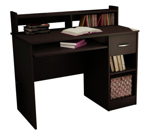 South Shore - South Shore Axess Small Wood Computer Desk with Hutch in Chocolate - South Shore - Computer Desks - 7259076 - This Axess desk is the perfect answer to organizing clutter in your child's room. It features a compact design yet includes space for everything needed for schoolwork and projects. A low hutch offers shelving for books or keepsakes, and the spacious desktop offers plenty of room to spread out homework or house a laptop. Underneath the desktop, a sliding tray keeps a computer keyboard ready for use until its needed. Flexible storage options include a drawer and two open compartments that offer room for a CPU, writing supplies and paper. The desk also features a chocolate finish to complement most room decors as well as other Axess pieces.