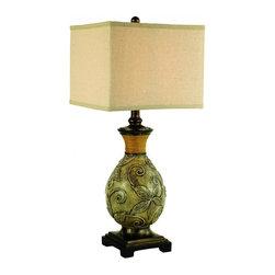Joshua Marshal - One Light White Wash Patina Bronze Linen Fabric Natural Shade Table Lamp - One Light White Wash Patina Bronze Linen Fabric Natural Shade Table Lamp