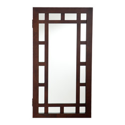 Holly & Martin - Akita Wall-Mount Jewelry Mirror, Espresso - The clean, modern design of this wall mount jewelry mirror brings both form and function into your home. It provides an assortment of storage options and is the perfect solution to keep you organized.