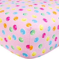 """Trend Lab - Crib Sheet - Gumdrop Dot Print Flannel - Your child's bed will be soft and cozy with this Gumdrop Dot Print Flannel Fitted Crib Sheet by Trend Lab. Sheet features a gumdrop dot print in paradise pink, mandarin orange, turquoise, lemon, electric lime, and cyan on a carnation pink background. Sheet features 7"""" deep pockets and fits a standard 52"""" x 28"""" crib mattress. Elastic around entire opening and elastic sheet straps sewn in each corner ensures a more secure fit. Coordinates with the Candy collection by Trend Lab."""