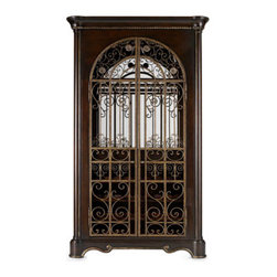 "Horchow - Twine Wine Cabinet - Bring the look of regality to the dining area with stately furnishings crafted of cherry wood with an ash burl finish and silver tipping. Banquette and chairs have polyester seats and backs. Imported. Dining table, 60""Dia. x 30T with leaves extending t..."