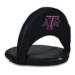 Picnic Time - Texas A&M Oniva Seat Recreational Reclining Seat Black - When you need a recreational reclining seat that's lightweight and portable, the Oniva Seat is for you. It has an adjustable shoulder strap and six adjustable positions for reclining. The seat cover is made of polyester, the frame is steel, and the seat is cushioned with high-density PU foam, which provides hours of comfortable sitting. The bottom of the seat is black so as not to soil easily. The Oniva Seat is great for the beach, the park, gaming and boating.; College Name: Texas A&M; Mascot: Aggies; Decoration: Digital Print