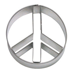 "RM - Peace Sign 3.5 In. B1696 - Peace sign 2 piece cookie cutter set Tin Plate Steel, Size: 3.5"", Depth 7/8"""