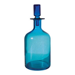Lazy Susan - Lazy Susan LZS-824016 Pool Blue Decanter - Large - Better than sapphire, turquoise or aquamarine, this shimmering blue glass decanter transforms natural light into pure bliss. Place it where it will capture the most light — windowsills are particularly charming — and see it sparkle all day long. Its modern lines and square stopper make it beautiful in shade as well as sun.