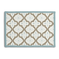 Tan & Aqua Quatrefoil Trellis Tailored Placemat Set - Class up your table's act with a set of Tailored Placemats finished with a contemporary contrast border. So pretty you'll want to leave them out well beyond dinner time! We love it in this seafoam & taupe quatrefoil pattern on a soft sateen reflects the essence of classic moroccan tilework.