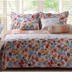 Greenland Home Fashions Euphoria Quilt Set - A vibrant pattern of flowers adorns the cover of the Greenland Home Fashions Euphoria Quilt Set, making it a charming choice for your new mattress. This cheerful quilt features cover and fill material made from 100% cotton. The floral pattern incorporates sky blue, yellow, red, and fuchsia flowers set against a white background; a bold stripe pattern featuring the same colors is featured on the reverse side. One matching sham included in twin set; two matching pillow shams are included in full, queen, and king sets (dimensions: 20W x 26L inches). Available in king, queen/full, and twin sizes (see below for dimensions).Quilt DimensionsKing: 106W x 92L inchesQueen/full: 88W x 92L inchesTwin: 68W x 86L inchesAbout Greenland Home FashionsFor the past 16 years, Greenland Home Fashions has been perfecting its own approach to textile fashions. Through constant developments and updates - in traditional, country, and forward-looking styles the company has become a leading supplier and designer of decorative bedding to retailers nationwide. If you're looking for high quality bedding that not only looks great but is crafted to last, consider Greenland.