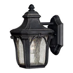 Hinkley Lighting - Trafalgar Mini Wall Outdoor Lantern - Welcome yourself home every night with this elegant outdoor lantern reminiscent of Victorian England. Graceful curves and pebbled glass will light your pathway to your door.