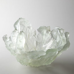 "Amanda Brisbane - Amanda Brisbane ""Silver Frozen Water"" Bowl - Glass bowl captures the look of frozen water made all the more dramatic by its transparency. By Amanda Brisbane. Made in the United Kingdom. Handcrafted of sand-cast glass. Approximately 13""Dia. x 13""T. For decorative use only."