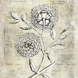 YOSEMITE HOME DECOR - Antiqued Bloom II Printed Art with Frame - Botanical flower print on aged linen accented with aged, newspaper print background and metallic overlays.