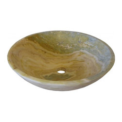 Novatto - Blue and Cream White Onyx Natural Stone Vessel Sink, 17-Inch Diameter - With nature as both guide and inspiration, Novatto searches worldwide to select the most exquisite onyx for our master stone artisans to handcraft into these outstanding vessel basins. Honed and polished to perfection, each 17-inch round vessel is beautifully unique in tones of blue with cream white. Because the onyx is from Mother Nature, each sink will vary slightly in color and veining. These sinks are constructed for above-counter installation with standard U.S. plumbing connections. For best cleaning results, a stone sealant should be used to protect the surface. Made with the highest standards of quality and creative design, Novatto sinks add art and function to any bath or powder room.