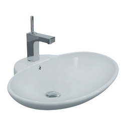 "TCS Home Supplies - Porcelain Ceramic Single Hole Countertop Bathroom Vessel Sink - Bathroom Single Hole Vessel Sink. Shallow Clam Shaped Design. Porcelain Ceramic. Above Countertop-Mount Installation. Dimensions 24-3/4"" x 19-1/4"" x 8""."