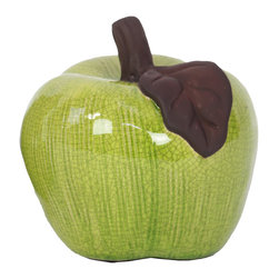 Urban Trends Collection - Stoneware Apple - Perfect as a teacher's gift or for sitting atop a mantle or shelf, this stoneware apple is sure to please. Finished in a bright crackled green glaze, this large, juicy apple features a brown leaf and stem.