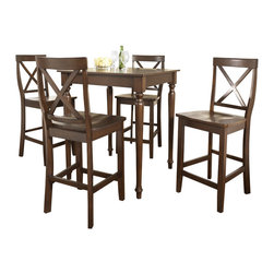 Crosley Furniture - 5 Pc Pub Dining Set w Turned Leg and X-Back S - Includes Pub Table and 4 Stools in Vintage Mahogany. Solid Hardwood & Veneer Construction Table . Solid Hardwood Stools. Hand Rubbed, Multi-Step Finish. Solid Hardwood, Fully Turned, Legs. Shaped Back for Comfort. Table Dimensions: 36 in. H x 32 in. W x 32 in. D. Stool Dimensions: 40 in. H x 18.5 in. W x 22.5 in. DConstucted of solid hardwood and wood veneers, the 5 piece Pub / High Dining set is built to last. Whether you are looking for dining for four, or just a great addition to the basement or bar area, this set is sure to add a touch of style to any area of your home.