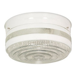 """Nuvo Lighting - Nuvo Lighting 77/099 Two Light 8"""" Flush Mount Ceiling Fixture with Large Crystal - Nuvo Lighting 77/099 Two Light 8"""" Flush Mount Ceiling Fixture with Large Crystal and White Drum Shade, in White FinishNuvo Lighting 77/099 Features:"""