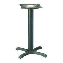 "MTS Seating - Cross Series 22 x 22 in. Table Base w 3 in. Column (Satin Black (Matte)) - Finish: Satin Black (Matte). This masterfully crafted and carefully designed 22""x22"", 3"" column cross table base features maneuverable glides.  You can secure your most dense, most obscure table top in confidence and style. * Labor Saver Feature. Adjustable Glides - Threaded for manual adjustment. 12 gauge steel mounting plate. Base: 22 in. x 22 in.. Column: 3 in.. Mounting Plate: 16 in. x 16 in.. Weight: 18.5 lbs.. Recommended Top Sizes: 24 in. - 30 in."
