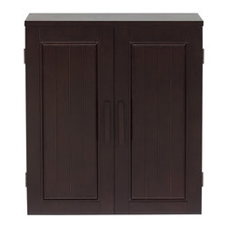 None - Covington Dark Birch Wall Cabinet - Give your bathroom a whole new look with this casual and sophisticated dark birch wall cabinet from Covington. Made of composite wood and birch veneer,the cabinet offers two shelves for storage. The dark birch offers the room a rich,casual elegance.