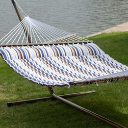 Island Bay 13 ft. Seaside Pillow Top Hammock with Faux Woodgrain Stand - Low maintenance, convenient, and unbelievably comfortable, the Island Bay Seaside Pillow Top Hammock with Faux Woodgrain Stand is the ideal addition to any backyard space. Constructed of weather-resistant quilted polyester, this hammock features a bright stripe pattern, a matching buttoned-on pillow, and an overall length of 11 feet 5 inches. It is supported by the included stand, which is made from 14-gauge steel with a faux woodgrain finish for a natural look. Two people can relax together in this hammock set, which has a weight capacity of 450 lbs. All hanging hardware is included. About Island Bay HammocksIsland Bay Hammocks come to you directly from skilled hammock artisans, and feature the Island Bay logo on the spreader bar. Using the latest technology alongside time-tested traditional methods of construction, these hammocks are woven with the pride of their makers.