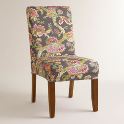 World Market - Gray Floral Anna Slipcover - Featuring an Indian-inspired floral pattern against a gray background, our exclusive slipcover offers a colorful style update to our Anna Slipcover Chair- an affordable way to get a brand new look. Mix and match it with our solid slipcovers to personalize your dining room.