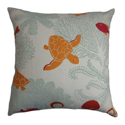 """The Pillow Collection - Ondine Coastal Pillow Coral White - This seaworthy throw pillow sends out a summery vibe to your interiors. This fun and incredibly cozy square pillow features a bunch of sea creatures printed against a white background. Refreshing shades like blue, coral, red are used in this coastal-inspired accent pillow. Made of 100% fluffy and soft cotton fabric, this 18"""" pillow lends comfort and dimension. Hidden zipper closure for easy cover removal.  Knife edge finish on all four sides.  Reversible pillow with the same fabric on the back side.  Spot cleaning suggested."""