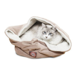 MAJESTIC PET PRODUCTS - Microvelvet 17-Inch Burrow Bed - You can learn a lot from cats. They've taken the act of lounging and turned it into an art form. Just look at how nestled this kitty is in this welcoming bed, inspiring all of us to not just get comfortable during a nap, but downright cozy.