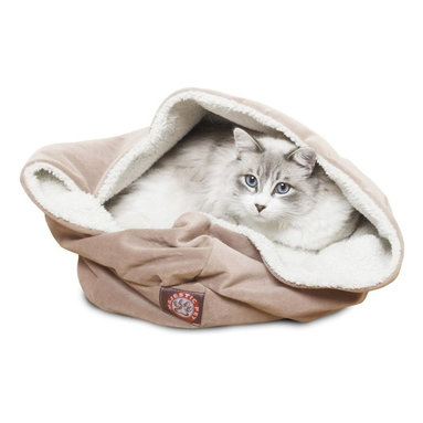 MAJESTIC PET PRODUCTS - Microvelvet Burrow Bed - You can learn a lot from cats. They've taken the act of lounging and turned it into an art form. Just look at how nestled this kitty is in this welcoming bed, inspiring all of us to not just get comfortable during a nap, but downright cozy.
