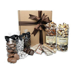 Frontgate - Premium Gift Box with Popcorn, Pretzels and Candy - Includes one canister each of Chocolate Popcorn and Chocolate Pretzels; 1 lb. bags of Milk Chocolate Toffee Almonds, English Toffee Squares, and Chocolate Caramel Cashew Patties; and four candy bars: Graham Cracker Bar, Caramel Licorice Bar, Peanut Crunch Bar, and Chocolate Bar. Chocolate Popcorn features the mouthwatering taste combination of full-size almonds, whole pecans, and jumbo cashews glazed to perfection, mixed with premium popcorn, and hand-drizzled with three kinds of chocolate. Chocolate Pretzels include a blend of crunchy, salty pretzels and chewy, gooey caramel hand-drizzled with dark, milk, and white chocolate and then sprinkled with fresh roasted and salted pecan pieces. Graham Cracker Bar features rich dark chocolate with fluffy marshmallow and buttery caramel, covered with a crunchy graham cracker and drizzled with dark, milk, and white chocolate. Caramel Licorice Bar combines dark chocolate, rich caramel, red licorice, and white chocolaty drizzle. The Premium Gift Box of Popcorn, Pretzels, and Candy invites a crowd to share in the heavenly chewy, crunchy, salty, and sweet goodness. Discover the pure bliss of chocolate drizzled, nutty Chocolate Popcorn or indulge in caramel-covered Chocolate Pretzels. Three generously sized bags of bite-size candies and four gourmet candy bars dazzle the taste buds of even the most distinguishing chocolate fans. The delectable selection of top-quality candy arrives fresh and melts in your mouth from the first to the last bite. . . . . . Peanut Crunch Bar includes a blanket of roasted and salted chopped peanuts, smothered in rich milk chocolate and topped with crunchy chocolaty puff cereal and drizzled with rich peanut butter. Chocolate Bar blends milk chocolate, pecans, dried berries, Oreo Cookies, graham crackers and crispy rice. Artisan crafted in small batches and delivered fresh. Certified OU-D Kosher. Handmade in USA.