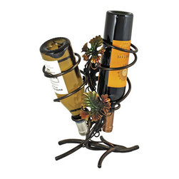 True Fabrications - Wine Rack Grapevine 2 Bottle Wine Holder - Bring the vineyard into your home with this 2-bottle holder, inspired by Californian wineries. Lightweight metal wine rack.