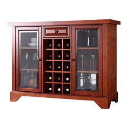 Crosley Furniture - Crosley LaFayette Sliding Top Bar Cabinet in Classic Cherry - Crosley Furniture - Home Bars - KF40002BCH