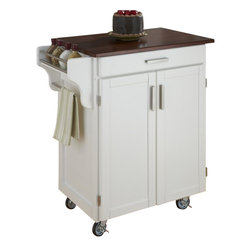 Home Styles - Home Styles Cuisine Cart in White Finish with Cherry Top - Home Styles - Kitchen Carts - 90010027G -Home Styles Cuisine Kitchen Cart in a white finish with a 3/4 inch Cherry finished wood top features solid wood construction, and Utility drawer; 2 cabinet doors open to storage with adjustable shelf inside; Handy spice rack, Towel bar; Heavy duty locking rubber casters for easy mobility and safety. Size: 32.5w 18.75d 35.5h. Assembly required.