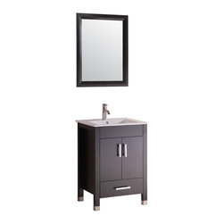 "Eviva - Eviva - Berkely 24"" Vanity Espresso, Without Mirror - The Eviva 24"" Berkely is a sleek, modern free standing vanity with plenty of storage space."