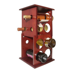 Proman Products - Proman Products Wine Holder Fuji 2 Layer Wine Rack in Mahogany - Fuji 2 layer wine rack, hold 8 bottles, mahogany finish, ideal to Put on counter top or table top. Mahogany finish