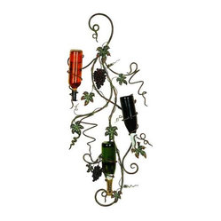 UMA - Roma Wall Iron Wine Rack - This cottage-styled metal wall wine rack depicts the verdant fruits of the vineyard, their vines standing ready to hold five bottles of wine in an upright position while adding high style to your kitchen, dining area or home bar