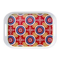Q Squared NYC - Montecito Red Large Tray - Transport your dining table to historical Montecito with the beautiful, vibrant colors of this collection, inspired by the intricate tiles and textures of the romantic city.
