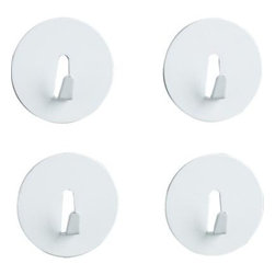 Set of 4 White Mini Magnet Hooks - Small but strong hooks and magnets meet in this handy household gadget of powdercoated steel.
