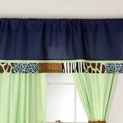 Jazzie Jungle Boy - Valance - Valance is designed trimmed with the same repeat pattern using all our animal cotton print fabrics as designed on our bed skirts!  Top of Valance is the collection's navy blue cotton fabric.  You can't go wrong with anything this collection has to offer!