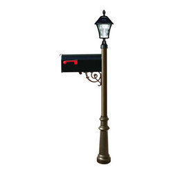 Qualarc, Inc. - Lewiston Post (Bronze) with Economy #1 Mailbox, Fluted Base, Black Solar Lamp - Lewiston Post / Economy #1 Mailbox comes with support brace and ornate base in bronze color. Black Economy #1 Mailbox is made of galvanized metal. Post, support brace and ornate base are made of rust-free cast aluminum with a weather resistant finish. The Bayview Solar Lamp mounts to the top of the post and features a classic gas-light design with real beveled glass panes. With our super-bright LED's and patented cone reflector technology, guests will easily spot your address at night. Using efficient solar-powered technology, the Bayview charges by day adn automatically turns on at night. No wiring is needed. And with a weather-resistant powder-coated cast aluminum frame, no maintenance is required. (Solar lamp availbe in color black only)