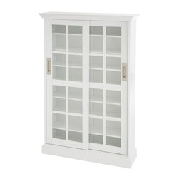 Holly & Martin - Emerson Sliding Door Media Cabinet, White - A clean white finish enhances this stylish sliding door media cabinet. Each door slides open to reveal the spacious and versatile interior. While the top, center and bottom shelf are fixed, 4 adjustable shelves combine to create unlimited options for your media storage. Window paned sliding doors, adjustable shelves, and contemporary elegance all combine to create an excellent addition to your home.