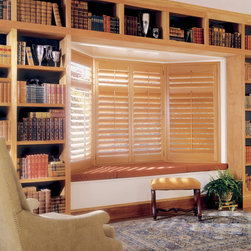 Hunter Douglas - Bay Window Plantation Shutters - Two Blind Guys Custom Shutters - This beautiful set of bay windows was covered with Hunter Douglas® Plantation Shutters. The perfect solution to those tricky bay windows. Custom made shutters to fit your exact windows.