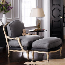 "Slate Bergere Chair & Ottoman - Slate Bergere Chair & OttomanElegant and sophisticated, this Bergere chair and ottoman are perfect for a bedroom or living room.  Tuck this pair into a guest room and your guest will feel totally spoiled.Made of beechwood with an antique-white finish and cushioned with down-filled gray linen. Chair, 33""W x 39""D x 36.5""T.Ottoman, 33""W x 19""D x 19""T."