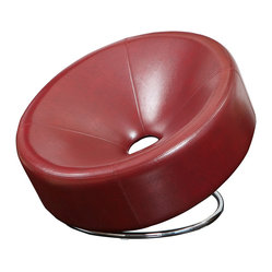 Great Deal Furniture - Nouvelle Design Leather Accent Chair - Is this art or furniture? This ultramodern chair has a unique circular shape and comes in a variety of colors — ruby red, blue or white. It's designed for maximum comfort, so don't hesitate to take a seat.