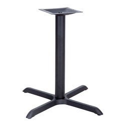"""Flash Furniture - 33'' x 33'' Restaurant Table X-Base with 4'' Table Height Column - Complete your restaurant, break room or cafeteria with table bases and coordinating table tops. This table base is designed for commercial use so you will be assured it will withstand the daily rigors in the hospitality industry. Whether you are just starting your business or upgrading your furniture this table base will complete the look.; Restaurant Table Base; X-Base Configuration; Cast Iron Construction; Easy 2-Piece Assembly with Single Bolt; Top Plate Pre-Welded to Column; Black Powder Coated Finish; Available in Table Height or Bar Height; Designed for Commercial Use; Designed for 24"""" to 36"""" Round and Square Table Tops; Designed for 30"""" x 42"""" or Larger Rectangular Table Tops; Assembly Required: Yes; Country of Origin: China; Warranty: 2 Years; Weight: 27 lbs.; Dimensions: 30""""H x 33""""W x 33""""D"""