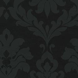 Patton - Vg26227P Damask Wallpaper - VG26227P from Black & White 2 is a black tone on tone damask wallpaper.