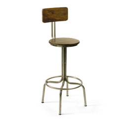 Vintage Chic Home - Clevelander Stool - For a vintage industrial farmhouse look, this clevelander stool, does the trick. With its sleek lines mixed with a farmhouse look, it has vintage appeal. For a classic style kitchen that needs a twist, add these barstools for some fun!