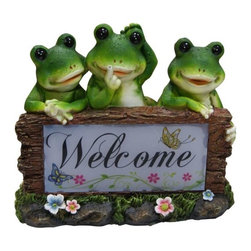 Alpine - Set of 4 Solar Frogs Welcome Statues - Features:Dimensions: