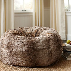 Faux Fur Beanbag, Caramel Ombré - This faux fur poof would be great to lounge in while watching TV or reading a book. I like its rustic, cozy feel.