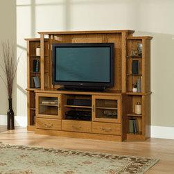 Sauder 40 Entertainment : 14 Sauder Orchard Hills Large Highboy TV Stand in Carolina Oak Finish ...